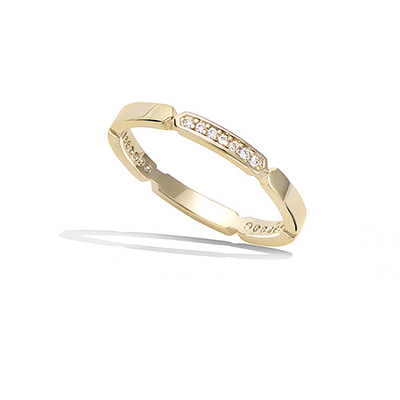 法国3微米镀金首饰 18K包金戒指 12HU0060CZ